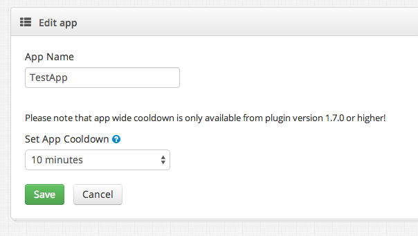 App cooldown