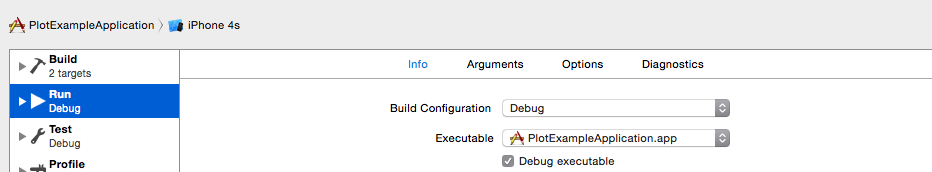 Build configuration to debug