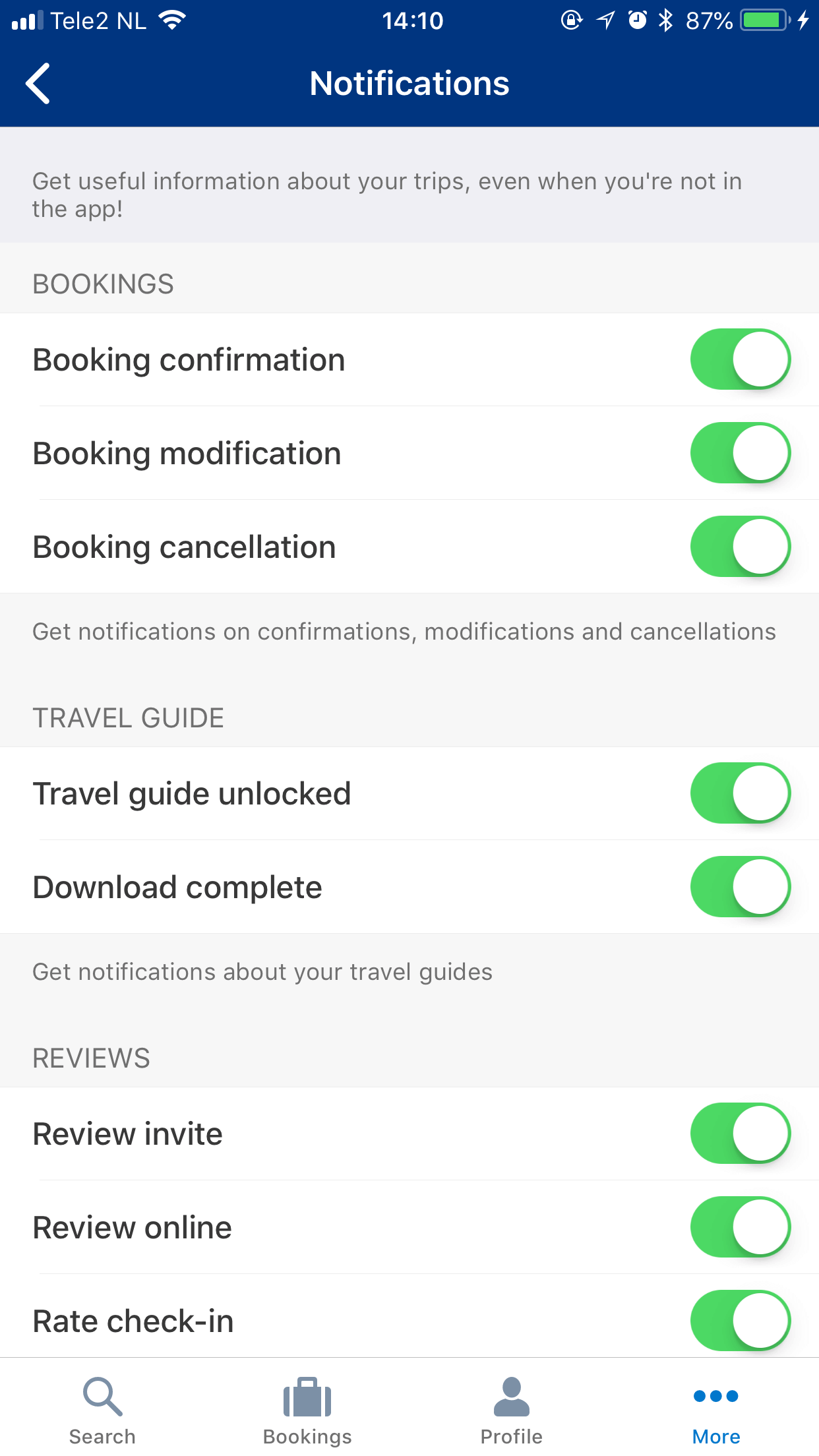 Booking.com In-App Notification Preference Center