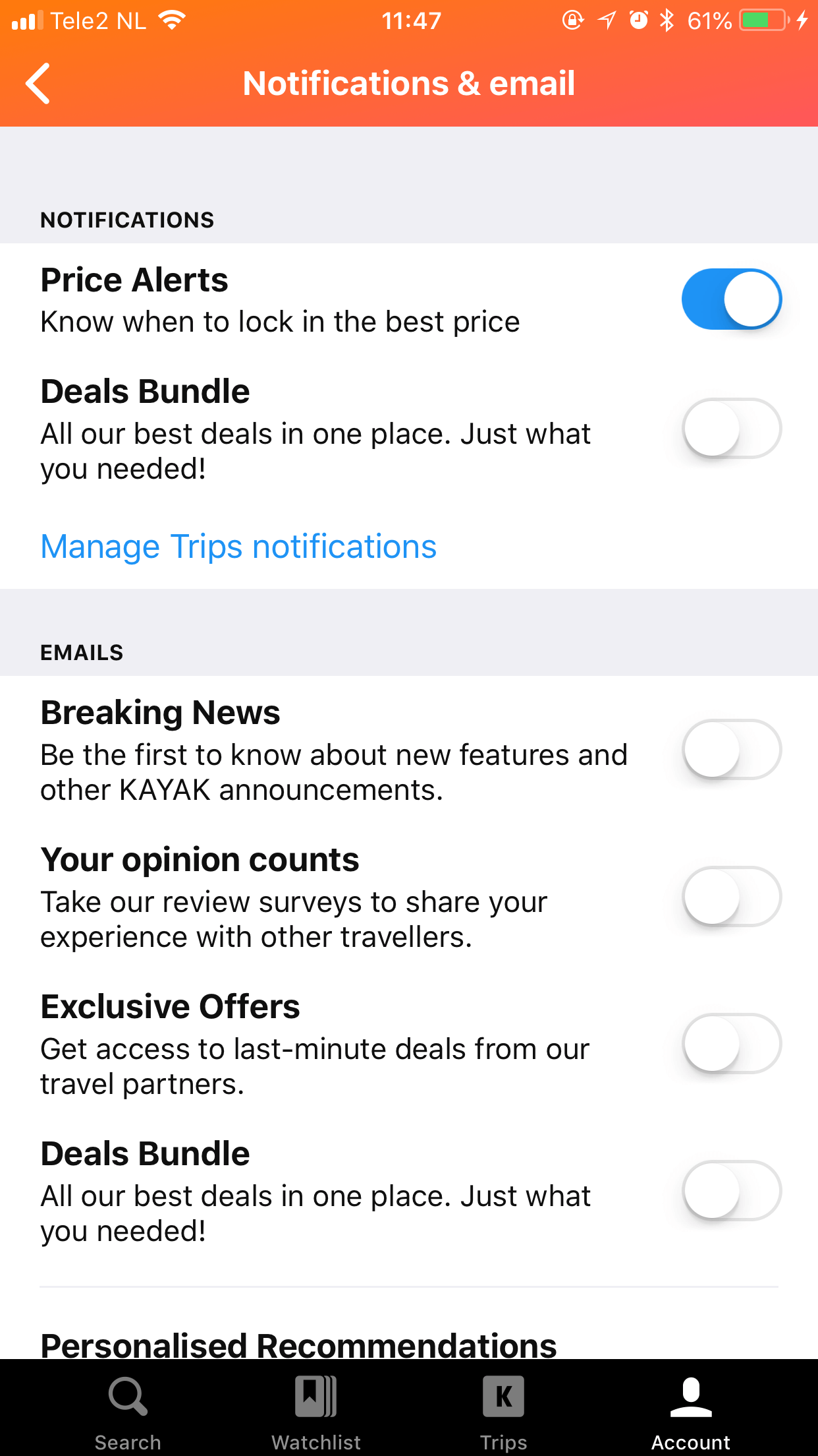 Kayak In-App Notification Preference Center