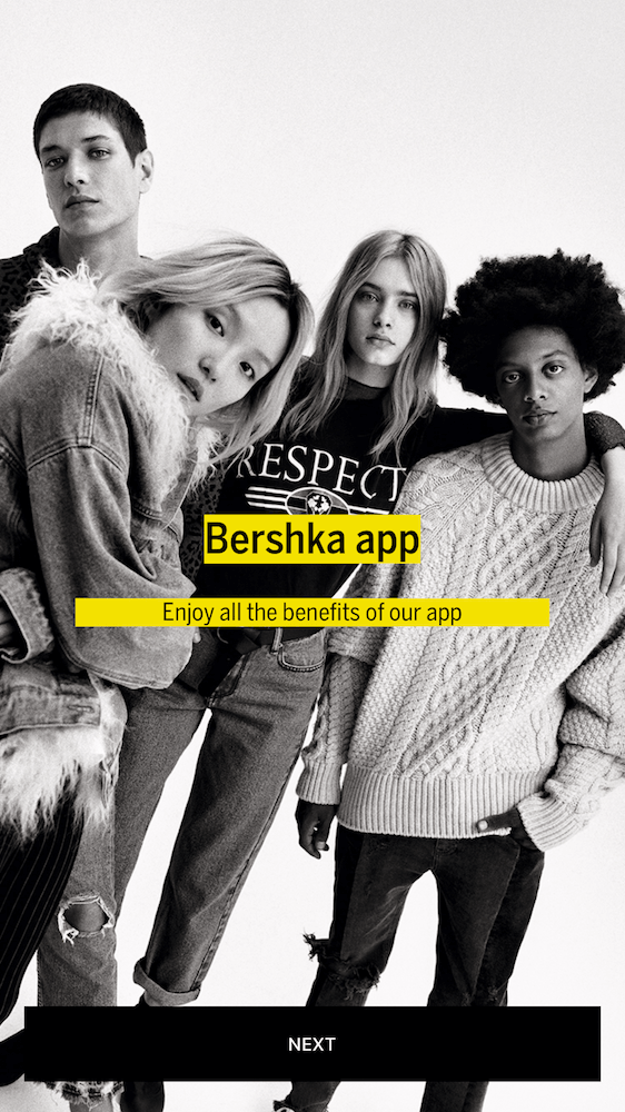 Bershka Mobile App Priming Screens