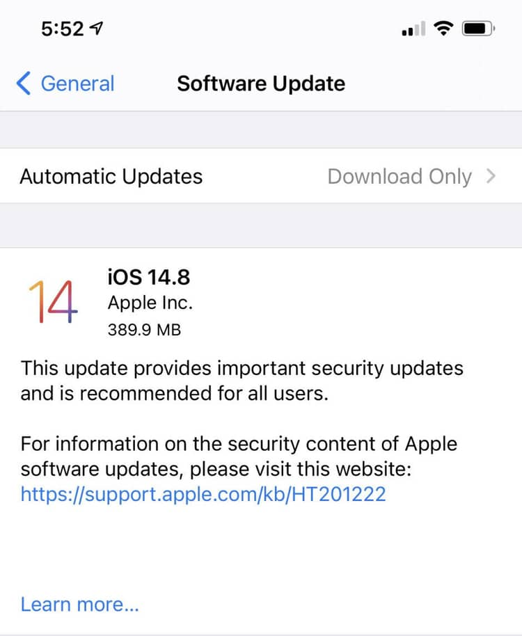 Apple emergency software update iOS 14.8 release notes